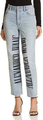 Alexander Wang Cult Logo-Embroidered Wide Leg Jeans in Bleach