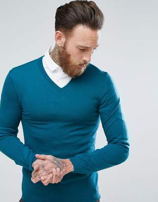 Asos Merino V-Neck Sweater In Teal
