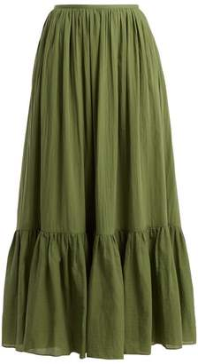 Loup Charmant - Flores Tiered Cotton Maxi Skirt - Womens - Khaki