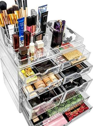 Your Own Sorbus Organiser Acrylic Cosmetics Jewelry Storage Case X-Large Display Sets-Interlocking Scoop Drawers to Create Specially Designed Makeup Counter-Stackable and Interchangeable