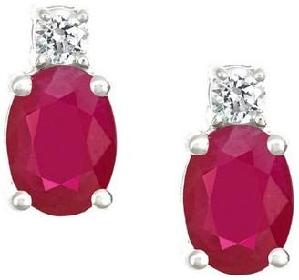 Premier 1.50cttw Oval Ruby & 1/8cttw Diamond Earring, 14K