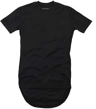 Brave Soul Mens McBose Plain Long Length Curved Hem T-Shirt (XS)