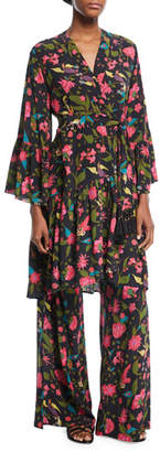 Figue Caroline Kimono Floral-Print Robe-Style Dress