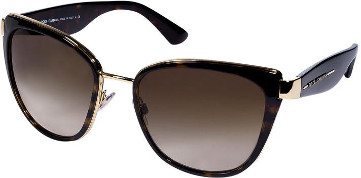 Dolce & Gabbana Mock Tortoise/Metal Cat-Eye Gradient Sunglasses