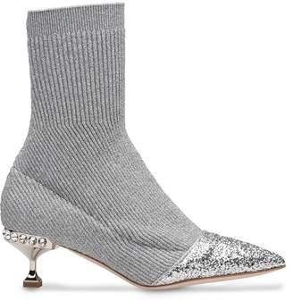 Miu Miu lurex knit ankle boots