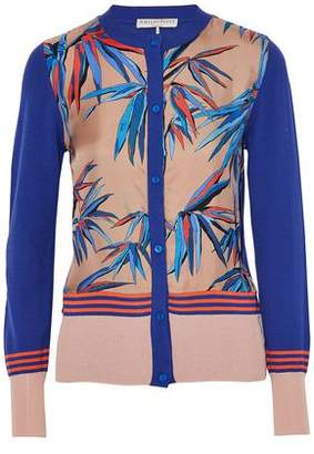 Emilio Pucci Printed Satin-Paneled Silk Cardigan