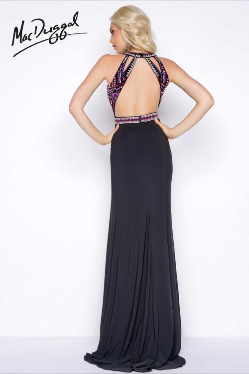 Cassandra Stone - 40603 High Neck Gown In Black Multi
