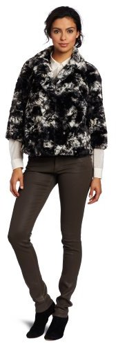 Chaus Women's One Button Marbled Fur Jacket