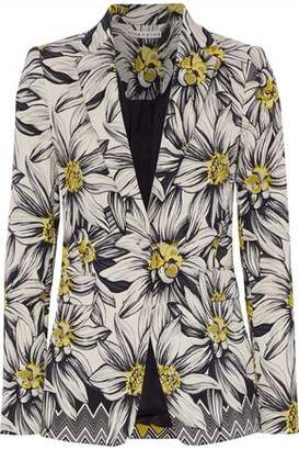 Alice + Olivia Cotton-Blend Floral-Jacquard Blazer