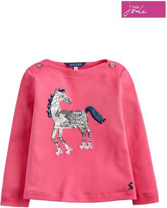 Next Girls Joules Deep Pink Roller Horse Graphic Sequin Top