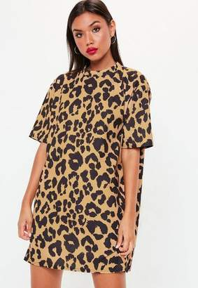 Missguided Mustard Leopard High Neck Shift Dress