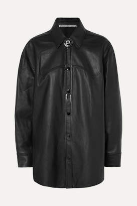 Alexander Wang Embellished Leather Shirt - Black
