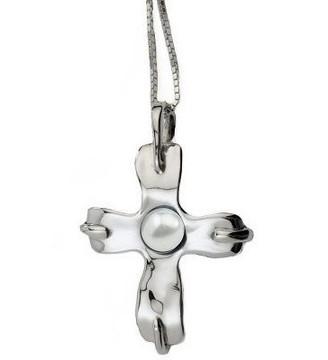 Hagit Gorali Sterling Cultured Pearl Cross Pendant w/ Chain