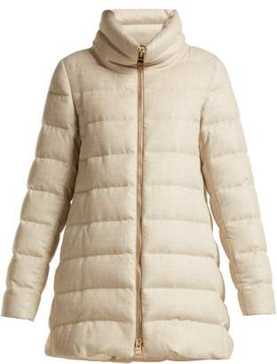 Herno - Funnel Neck Quilted Down Mid Length Coat - Womens - Beige