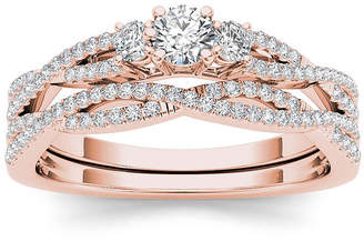 MODERN BRIDE 1/2 CT. T.W. Diamond 14K Rose Gold Crossover Bridal Ring Set
