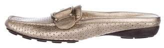 Stuart Weitzman Perforated Leather Mules