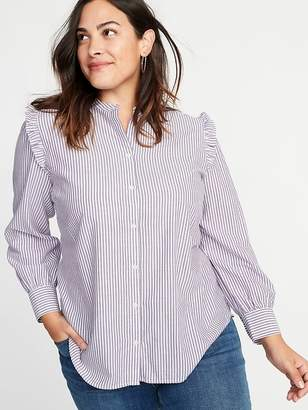 Old Navy Striped Ruffled-Shoulder No-Peek Plus-Size Shirt