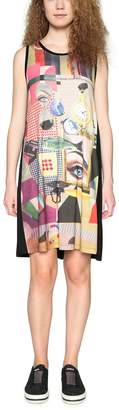Desigual Short Sleeveless Graphic Print Shift Dress