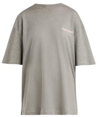 Balenciaga Oversized Logo Print Stretch Cotton Jersey T Shirt - Womens - Light Grey