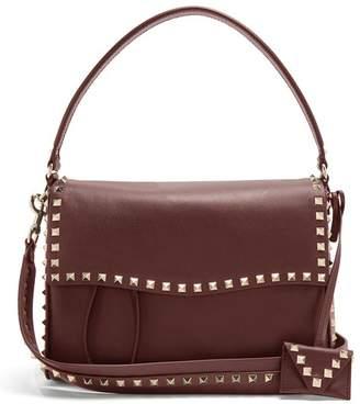 Valentino Rockstud Leather Bag - Womens - Burgundy