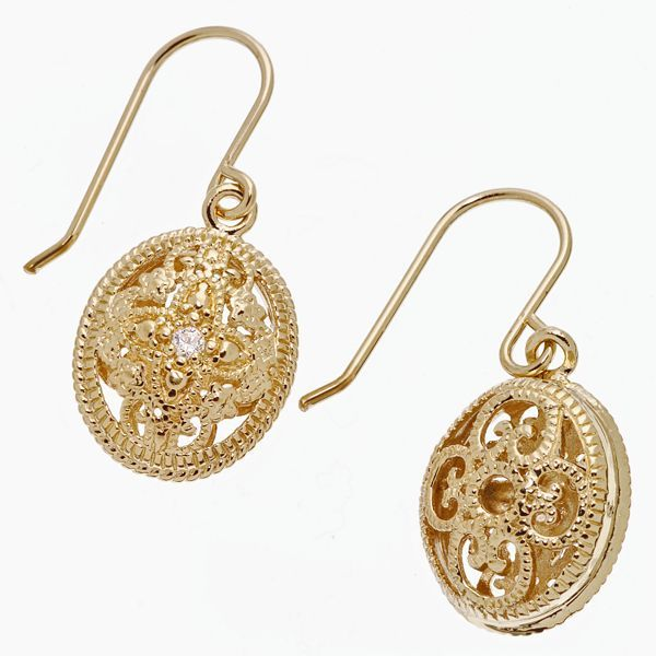 24k Gold-Over-Sterling Silver Scrollwork Drop Earrings