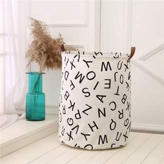 Yosoo Baby Kids Toy Storage Bag,Laundry Basket Storage Bag Canvas Useful Baby Kids Toy With Leather Handles(#7 Letter)