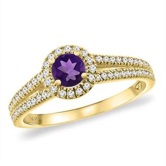 Sabrina Silver 14K Yellow Gold Natural Amethyst Split Shank Diamond Halo Engagement Ring 4mm Round, size 9.5
