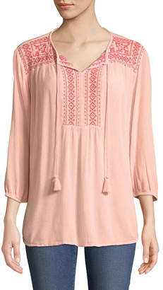 ST. JOHN'S BAY Embroidered Long Sleeve Fitted Sleeve Peasant Top