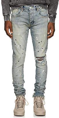 Purple Men's Paint-Splatter Skinny Jeans - Md. Blue