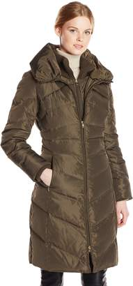Jessica Simpson Outerwear Women's Long Chevron Down Coat with Hood