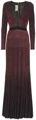 Elie Saab Metallic rib-knit maxi dress