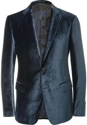 Etro Blue Slim-Fit Debossed Velvet Blazer $1,540 thestylecure.com