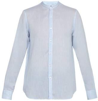 Giorgio Armani Slubbed Linen Poplin Band Collar Shirt - Mens - Light Blue