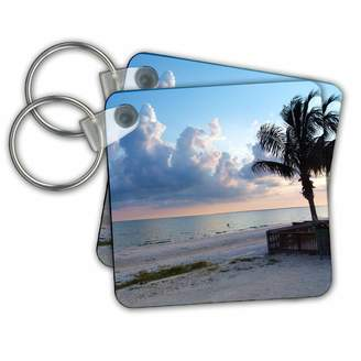 3dRose kc_22131_1 Florene Sunset And Palms - Beach View - Key Chains - Key Chains