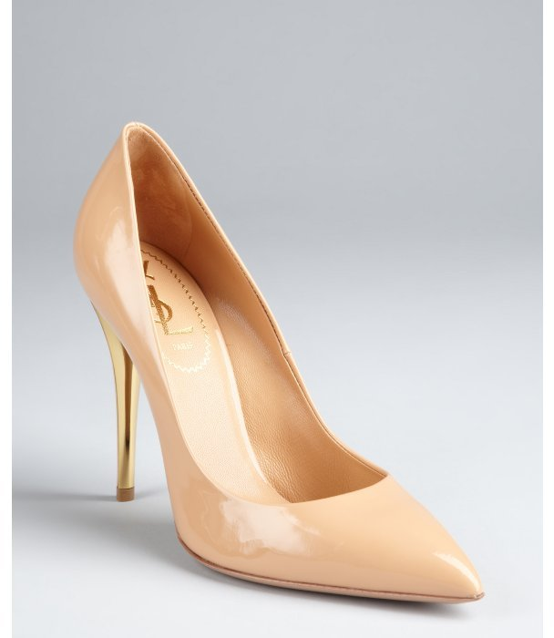 Yves Saint Laurent nude patent leather 'Clara 105' pointed toe pumps