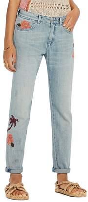 Scotch & Soda Bandit Floral Embroidered Slim Boyfriend Jeans in Blue