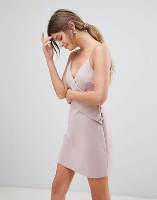 Asos DESIGN Cami Button Wrap Mini Shift Dress