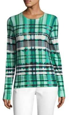 St. John Ombre Plaid Overprinted Sweater
