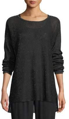 Eileen Fisher Sparkle Crepe Bateau-Neck Tunic Sweater, Plus Size