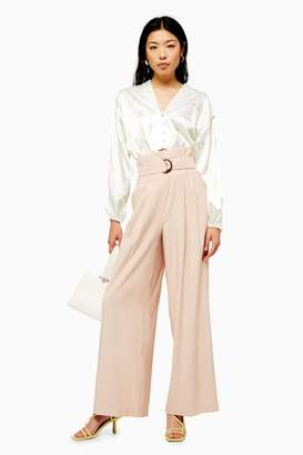 Topshop Womens Blush Twill Wide Leg Trousers - Blush
