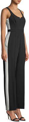 Donna Morgan Side-Stripe Sleeveless Crepe Jumpsuit