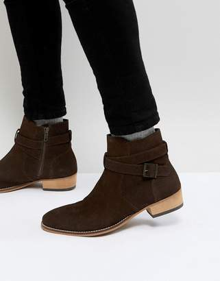 Asos Chelsea Boot In Brown Suede With Cuban Heel And Strapping Detail