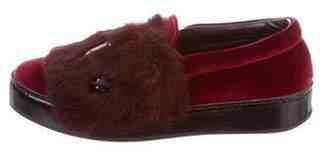 Barneys New York Barney's New York Embellished Velvet and Fur Sneakers