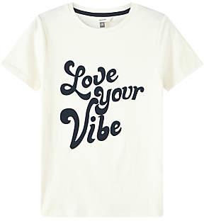 John Lewis & Partners Girls' Love Your Vibe T-Shirt, White