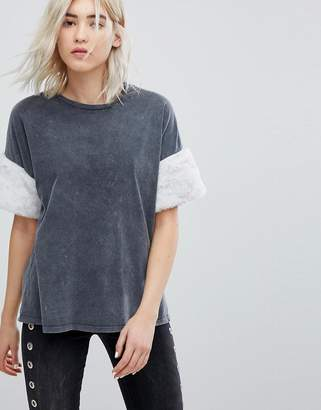 Bershka Fluffy Arm Detail T-Shirt
