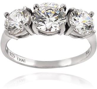 Swarovski Generic Zirconia Ice Zirconia Sterling Silver Three-Stone Ring