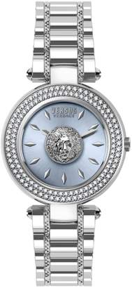 Versace Crystal Bezel Logo Stainless Steel Bracelet Watch