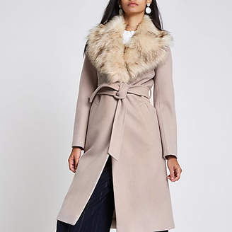 River Island Cream belted faux fur belted wool coat