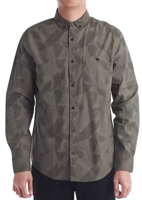 No Retreat Men's Geo Print Long Sleeve Button Front Shirt