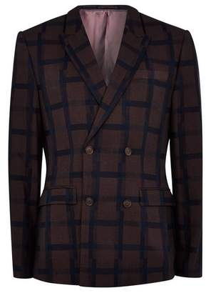 Topman Mens Red Burgundy Check Skinny Double Breasted Blazer